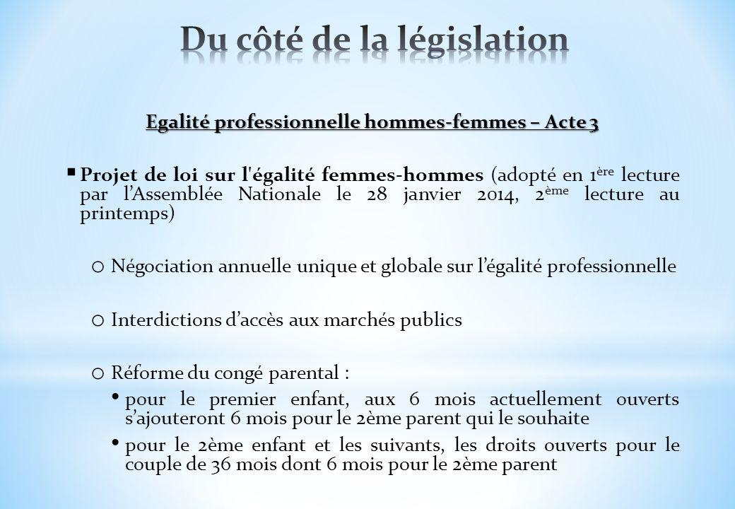 Egalité professionnelle hommes-femmes – Acte 3 Projet de loi sur l'égalité femmes-hommes (adopté en 1 ère lecture par lAssemblée Nationale le 28 janvi