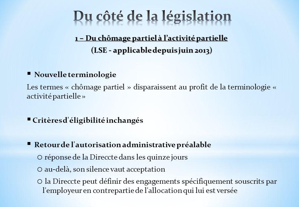 1 – Du chômage partiel à lactivité partielle (LSE - applicable depuis juin 2013) Nouvelle terminologie Les termes « chômage partiel » disparaissent au