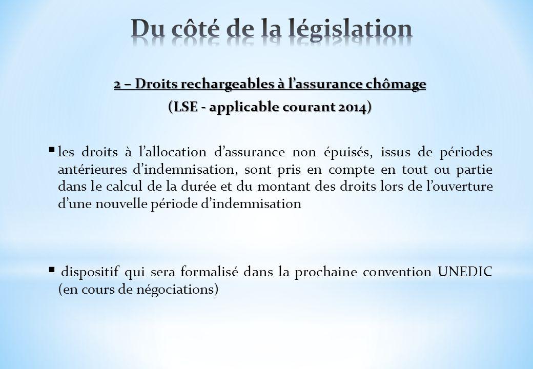 2 – Droits rechargeables à lassurance chômage (LSE - applicable courant 2014) les droits à lallocation dassurance non épuisés, issus de périodes antér