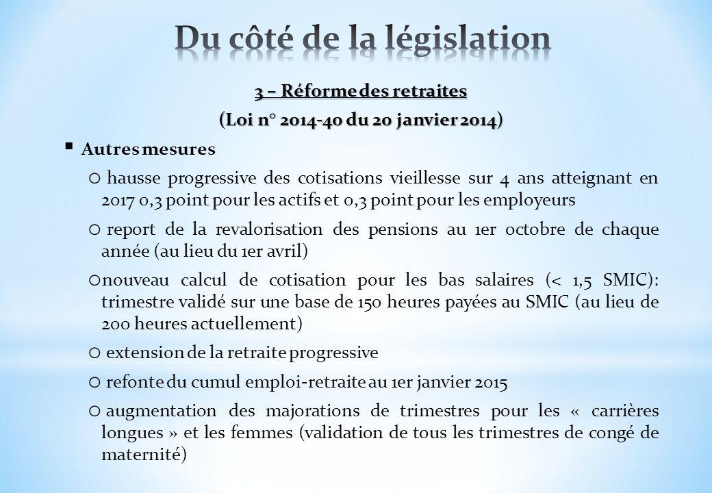 3 – Réforme des retraites (Loi n° 2014-40 du 20 janvier 2014) Autres mesures o hausse progressive des cotisations vieillesse sur 4 ans atteignant en 2