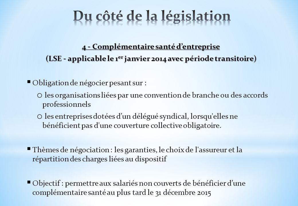 4 - Complémentaire santé dentreprise (LSE - applicable le 1 er janvier 2014 avec période transitoire) Obligation de négocier pesant sur : o les organi