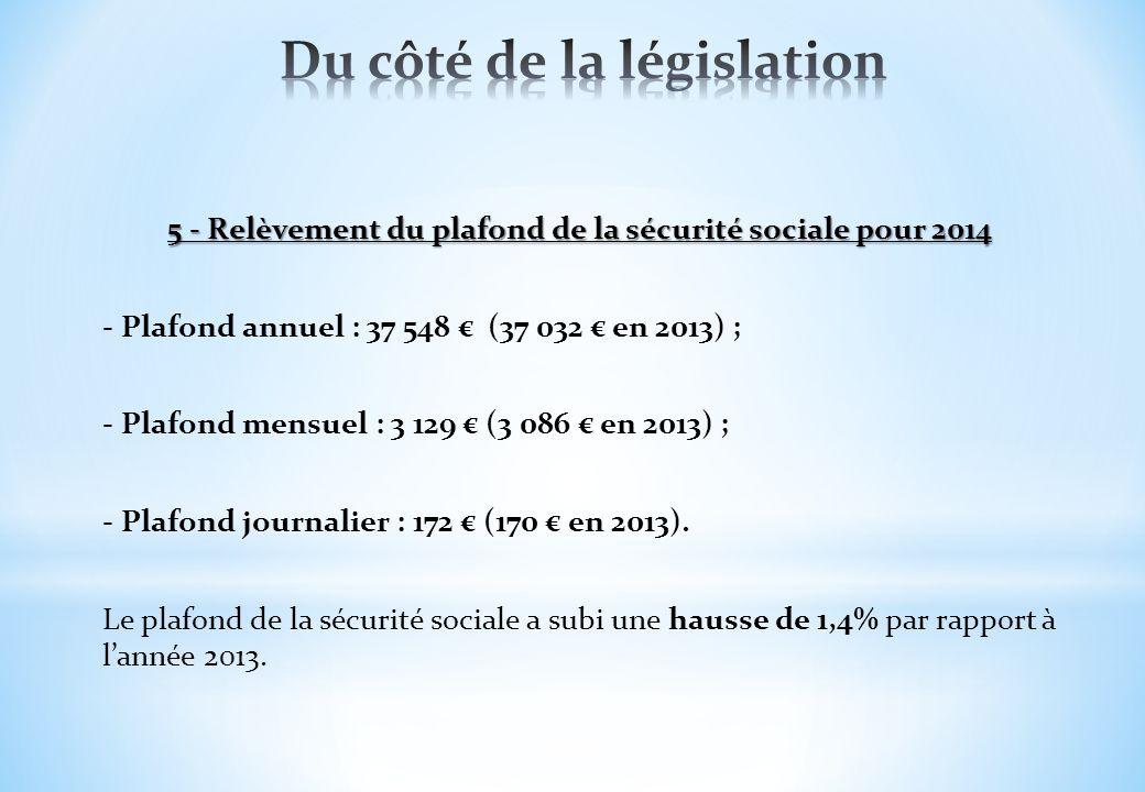 5 - Relèvement du plafond de la sécurité sociale pour 2014 - Plafond annuel : 37 548 (37 032 en 2013) ; - Plafond mensuel : 3 129 (3 086 en 2013) ; -