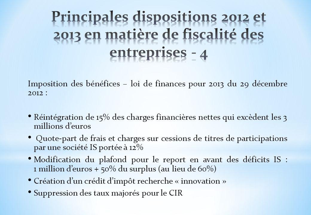 Imposition des bénéfices – loi de finances pour 2013 du 29 décembre 2012 : Réintégration de 15% des charges financières nettes qui excèdent les 3 mill