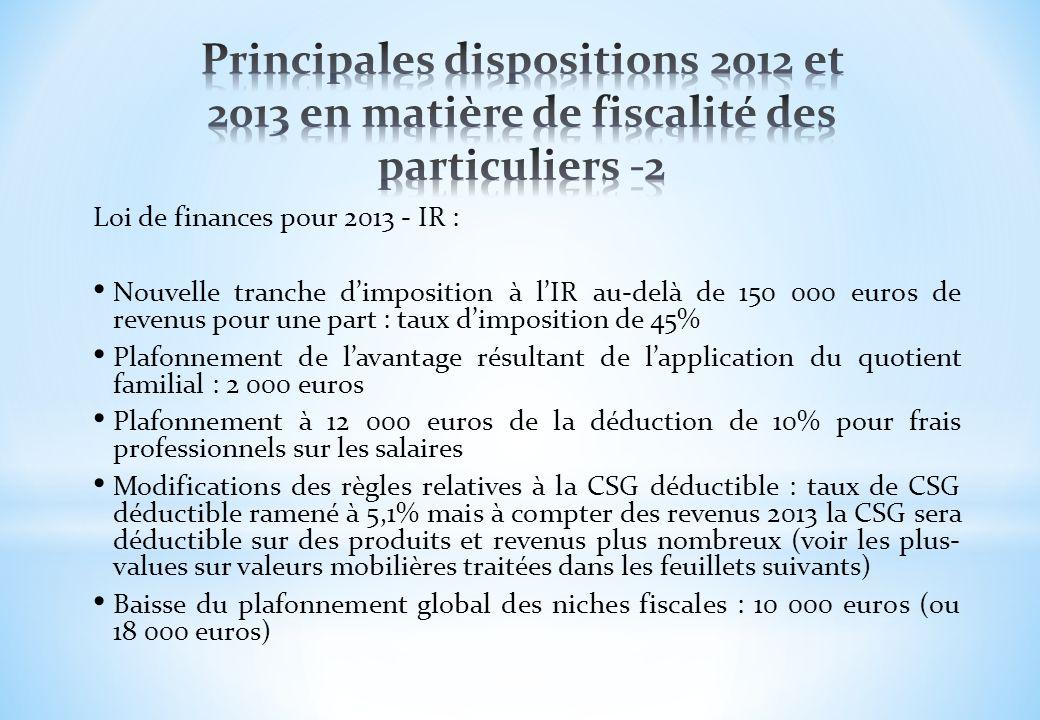 Loi de finances pour 2013 - IR : Nouvelle tranche dimposition à lIR au-delà de 150 000 euros de revenus pour une part : taux dimposition de 45% Plafon
