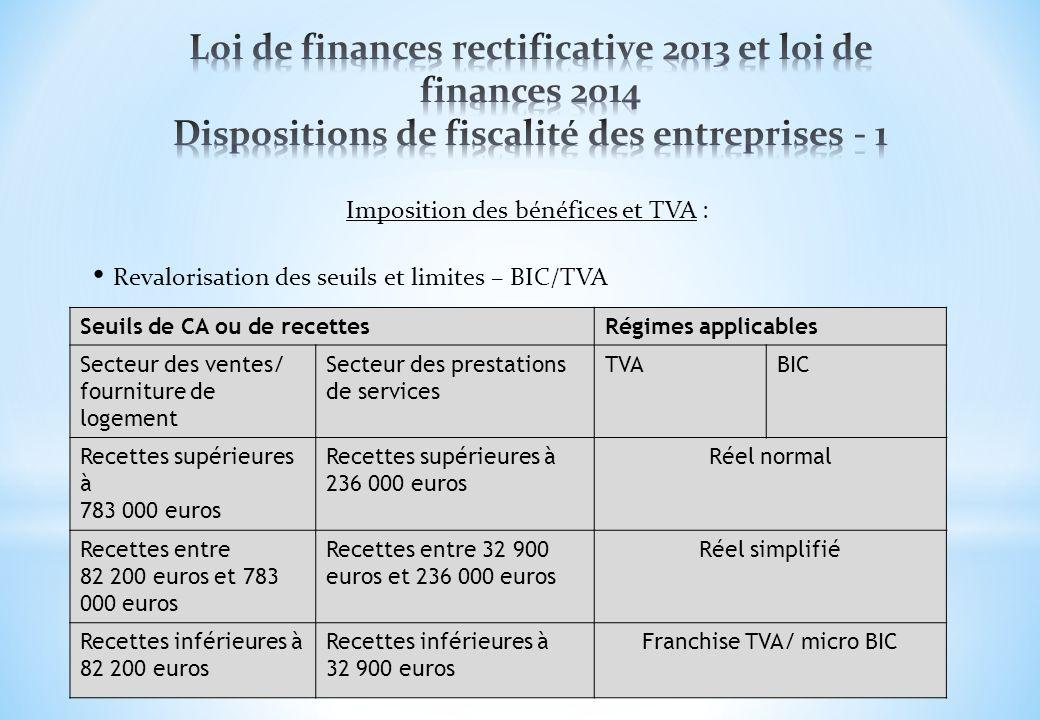 Imposition des bénéfices et TVA : Revalorisation des seuils et limites – BIC/TVA Seuils de CA ou de recettesRégimes applicables Secteur des ventes/ fo