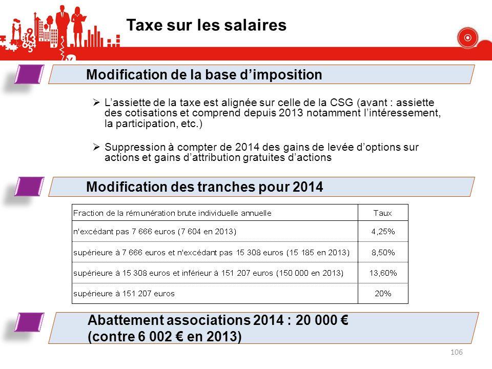 Taxe sur les salaires Lassiette de la taxe est alignée sur celle de la CSG (avant : assiette des cotisations et comprend depuis 2013 notamment lintére