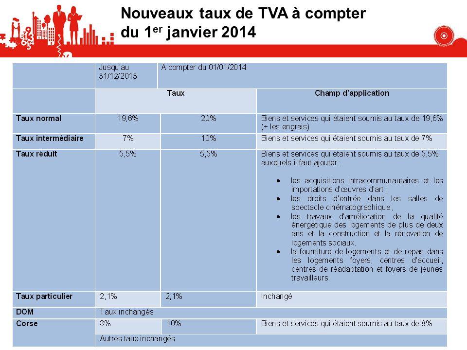 109 Nouveaux taux de TVA à compter du 1 er janvier 2014