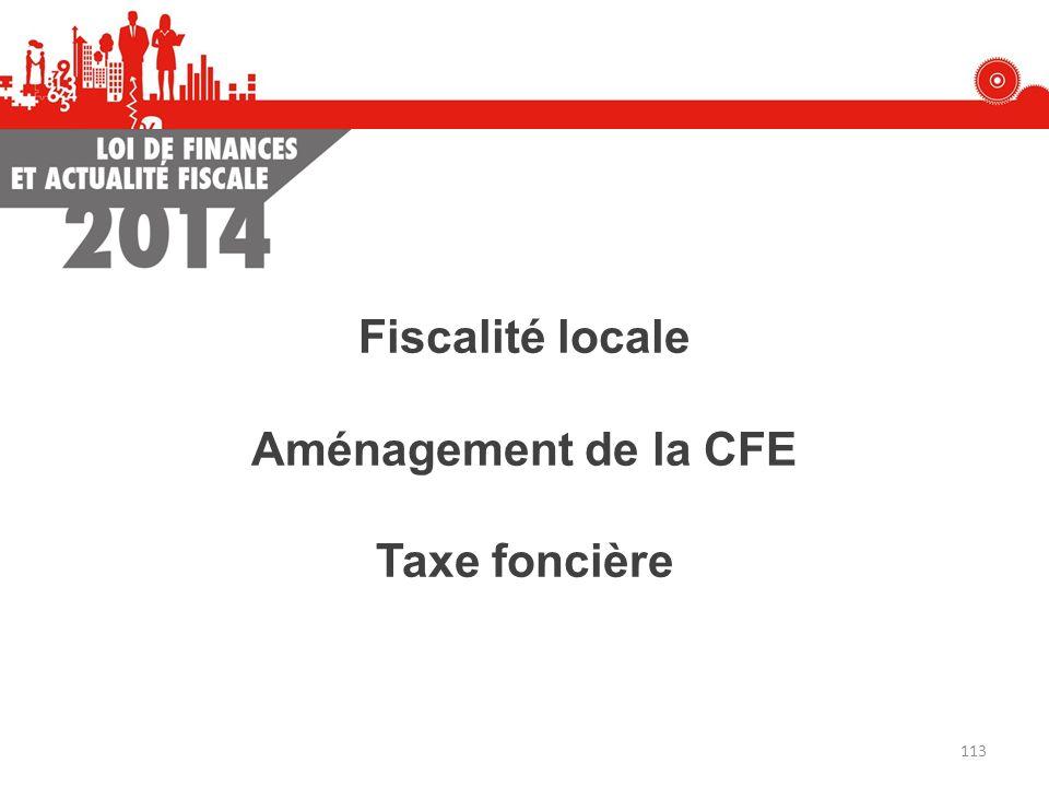Fiscalité locale Aménagement de la CFE Taxe foncière 113