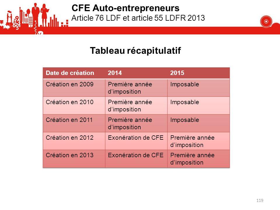 CFE Auto-entrepreneurs Article 76 LDF et article 55 LDFR 2013 Tableau récapitulatif 119