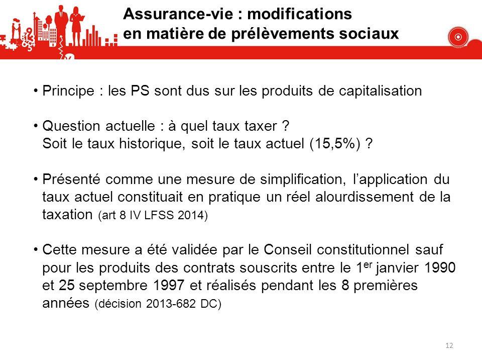 Assurance-vie : modifications en matière de prélèvements sociaux Principe : les PS sont dus sur les produits de capitalisation Question actuelle : à q