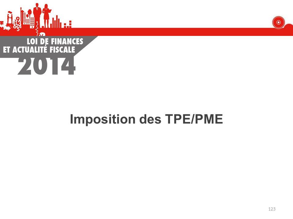 Imposition des TPE/PME 123
