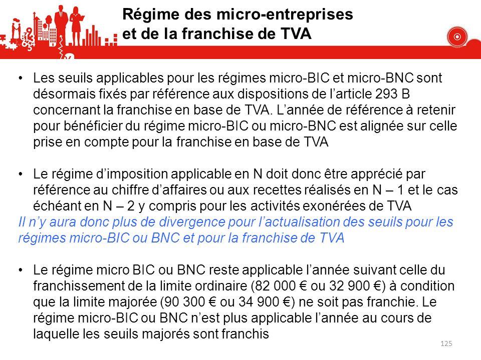 Régime des micro-entreprises et de la franchise de TVA Les seuils applicables pour les régimes micro-BIC et micro-BNC sont désormais fixés par référence aux dispositions de larticle 293 B concernant la franchise en base de TVA.