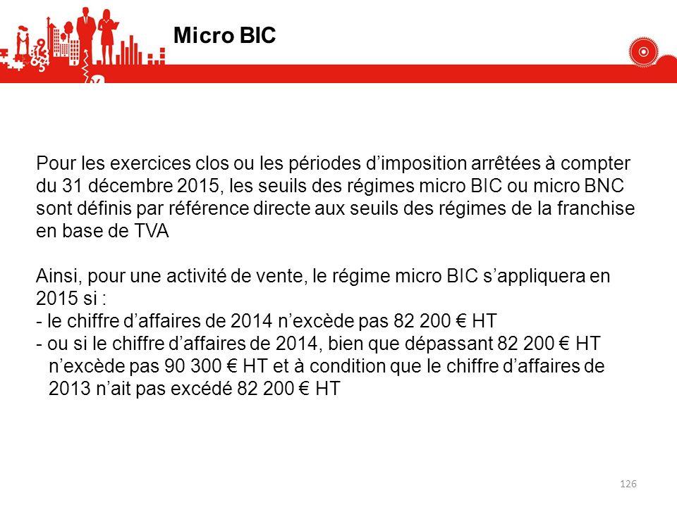 Pour les exercices clos ou les périodes dimposition arrêtées à compter du 31 décembre 2015, les seuils des régimes micro BIC ou micro BNC sont définis