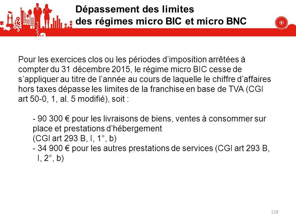 Pour les exercices clos ou les périodes dimposition arrêtées à compter du 31 décembre 2015, le régime micro BIC cesse de sappliquer au titre de lannée au cours de laquelle le chiffre daffaires hors taxes dépasse les limites de la franchise en base de TVA (CGI art 50-0, 1, al.