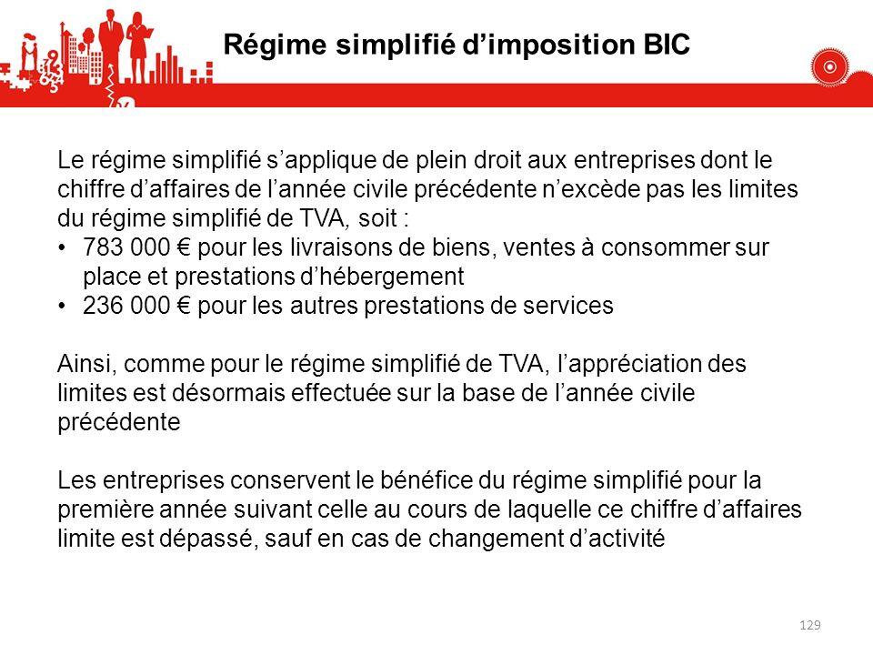 Le régime simplifié sapplique de plein droit aux entreprises dont le chiffre daffaires de lannée civile précédente nexcède pas les limites du régime s