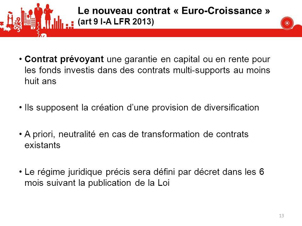 Le nouveau contrat « Euro-Croissance » (art 9 I-A LFR 2013) Contrat prévoyant une garantie en capital ou en rente pour les fonds investis dans des con