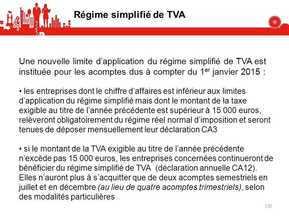 Une nouvelle limite dapplication du régime simplifié de TVA est instituée pour les acomptes dus à compter du 1 er janvier 2015 : les entreprises dont