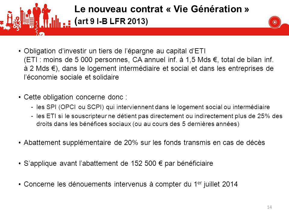 Le nouveau contrat « Vie Génération » ( art 9 I-B LFR 2013) Obligation dinvestir un tiers de lépargne au capital dETI (ETI : moins de 5 000 personnes, CA annuel inf.