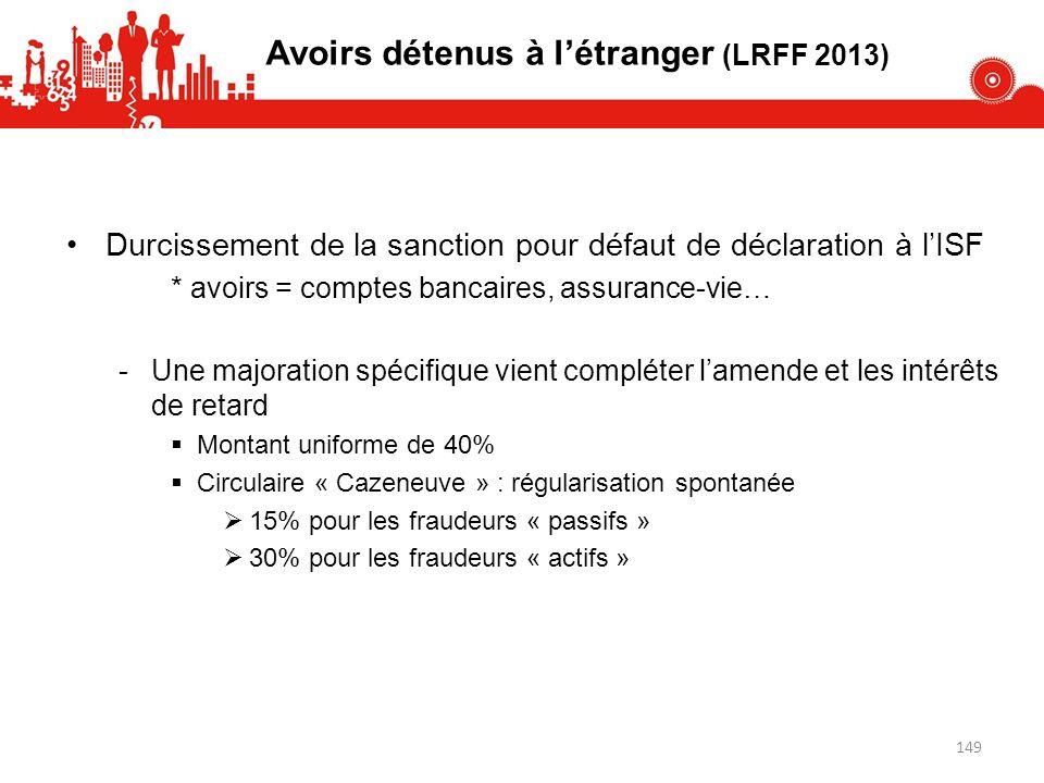Avoirs détenus à létranger (LRFF 2013) Durcissement de la sanction pour défaut de déclaration à lISF * avoirs = comptes bancaires, assurance-vie… -Une