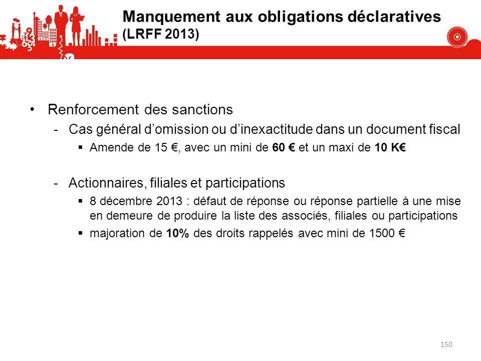 Manquement aux obligations déclaratives (LRFF 2013) Renforcement des sanctions -Cas général domission ou dinexactitude dans un document fiscal Amende