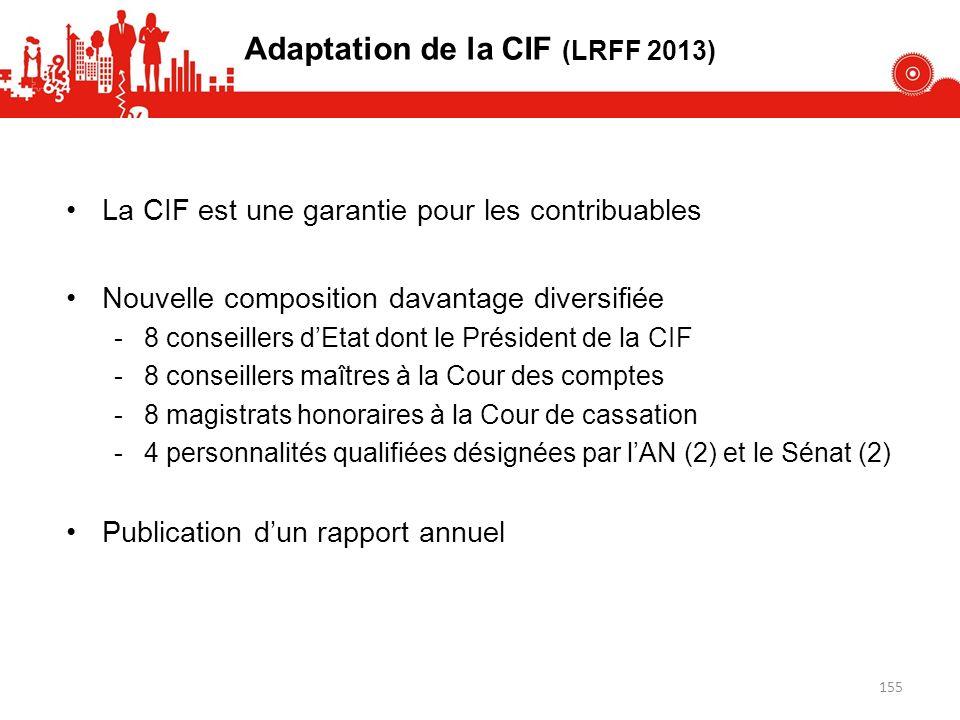 Adaptation de la CIF (LRFF 2013) La CIF est une garantie pour les contribuables Nouvelle composition davantage diversifiée -8 conseillers dEtat dont le Président de la CIF -8 conseillers maîtres à la Cour des comptes -8 magistrats honoraires à la Cour de cassation -4 personnalités qualifiées désignées par lAN (2) et le Sénat (2) Publication dun rapport annuel 155