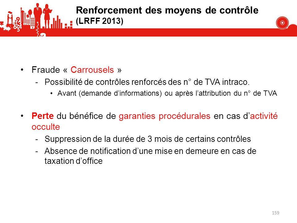 Fraude « Carrousels » -Possibilité de contrôles renforcés des n° de TVA intraco.