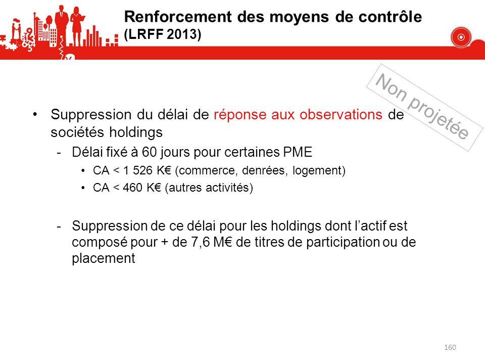 Suppression du délai de réponse aux observations de sociétés holdings -Délai fixé à 60 jours pour certaines PME CA < 1 526 K (commerce, denrées, logem
