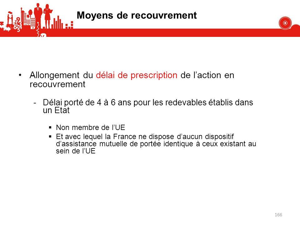 Allongement du délai de prescription de laction en recouvrement -Délai porté de 4 à 6 ans pour les redevables établis dans un Etat Non membre de lUE Et avec lequel la France ne dispose daucun dispositif dassistance mutuelle de portée identique à ceux existant au sein de lUE Moyens de recouvrement 166