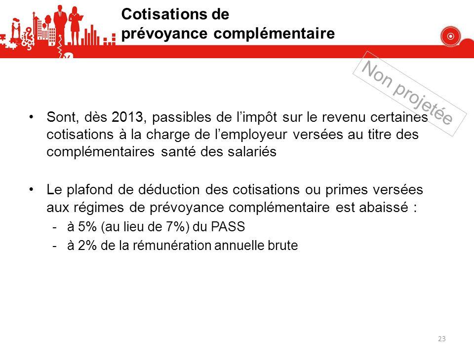 Cotisations de prévoyance complémentaire Sont, dès 2013, passibles de limpôt sur le revenu certaines cotisations à la charge de lemployeur versées au