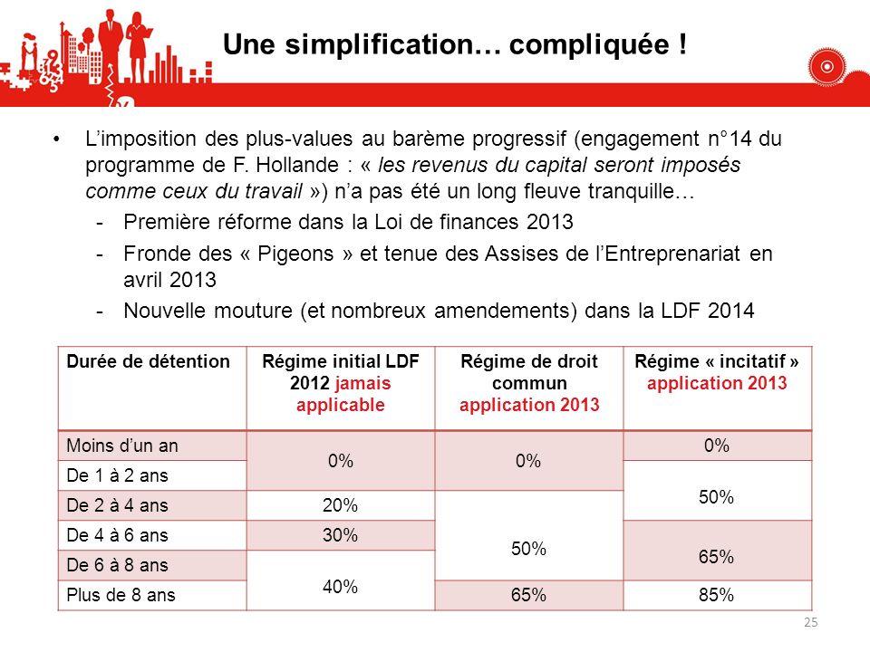 Une simplification… compliquée ! Limposition des plus-values au barème progressif (engagement n°14 du programme de F. Hollande : « les revenus du capi