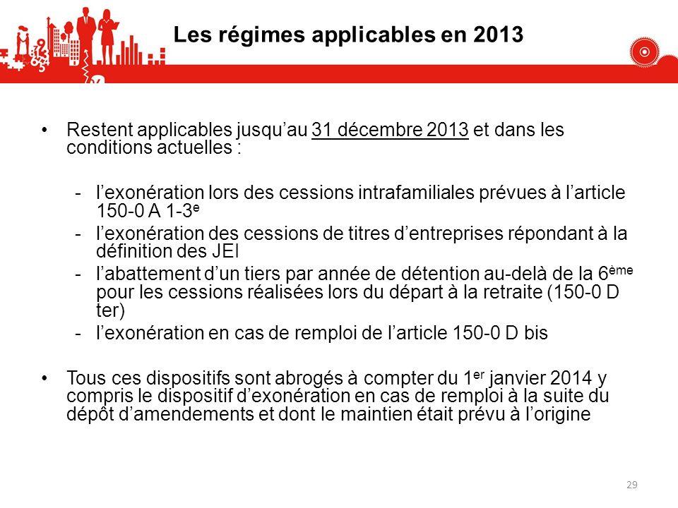 Les régimes applicables en 2013 Restent applicables jusquau 31 décembre 2013 et dans les conditions actuelles : -lexonération lors des cessions intraf