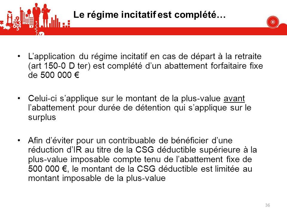 Le régime incitatif est complété… Lapplication du régime incitatif en cas de départ à la retraite (art 150-0 D ter) est complété dun abattement forfai