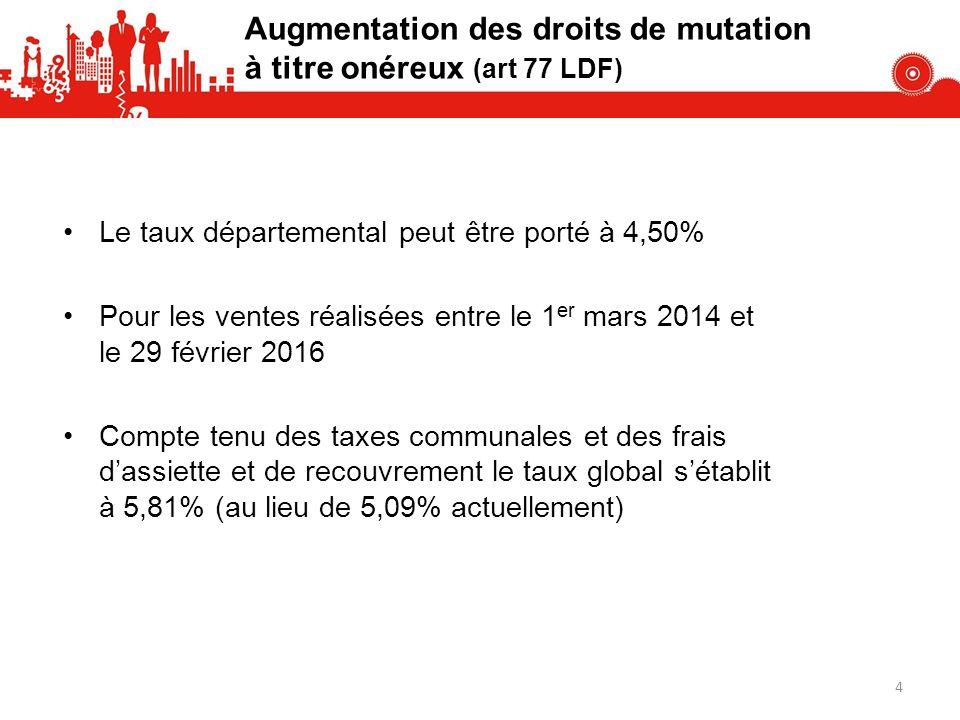 Le taux départemental peut être porté à 4,50% Pour les ventes réalisées entre le 1 er mars 2014 et le 29 février 2016 Compte tenu des taxes communales