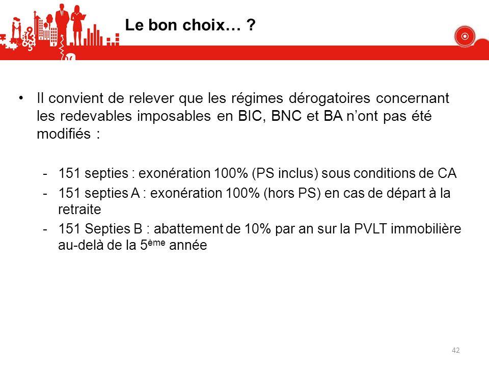 Le bon choix… ? Il convient de relever que les régimes dérogatoires concernant les redevables imposables en BIC, BNC et BA nont pas été modifiés : -15