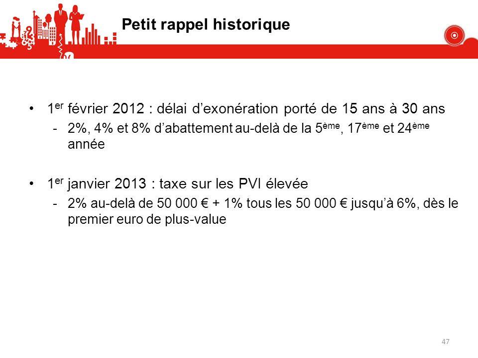 Petit rappel historique 1 er février 2012 : délai dexonération porté de 15 ans à 30 ans -2%, 4% et 8% dabattement au-delà de la 5 ème, 17 ème et 24 ème année 1 er janvier 2013 : taxe sur les PVI élevée -2% au-delà de 50 000 + 1% tous les 50 000 jusquà 6%, dès le premier euro de plus-value 47