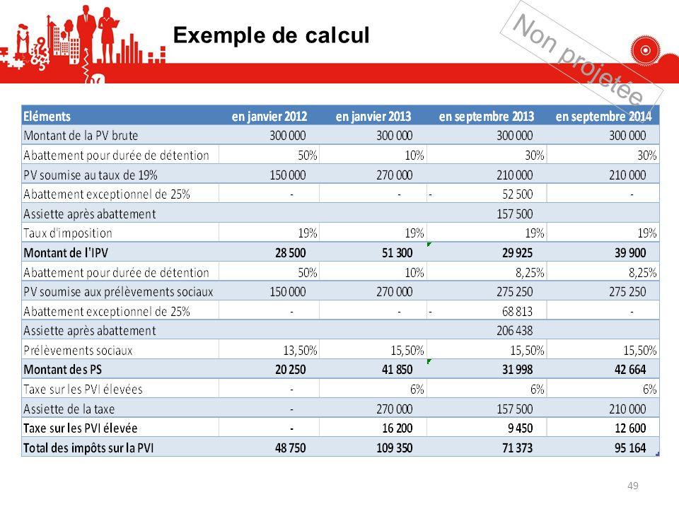 Exemple de calcul 49 Non projetée