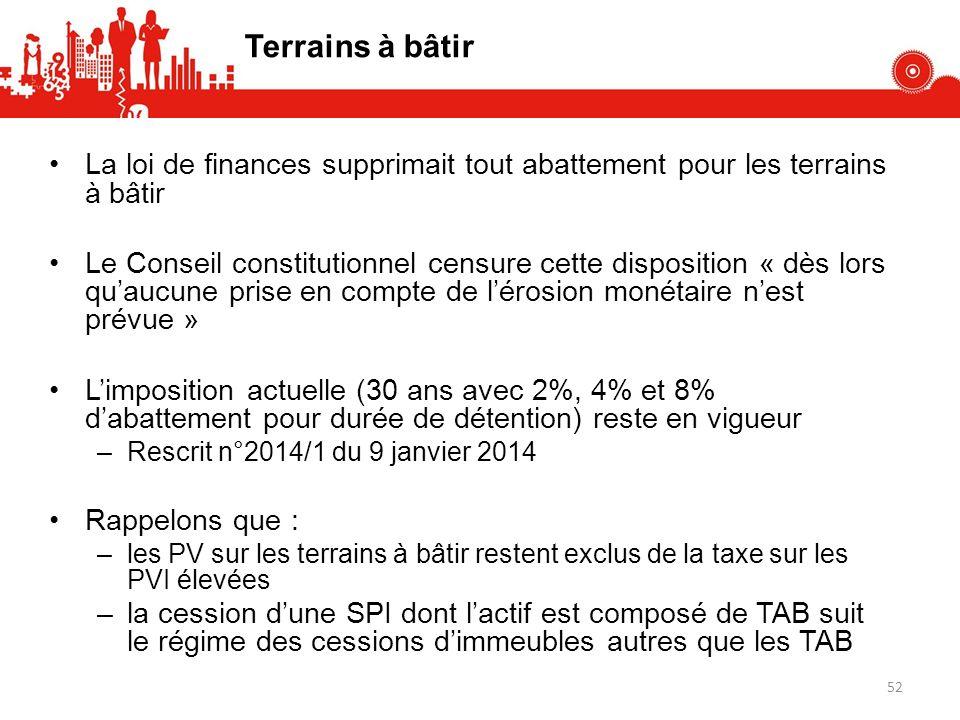 Terrains à bâtir La loi de finances supprimait tout abattement pour les terrains à bâtir Le Conseil constitutionnel censure cette disposition « dès lo