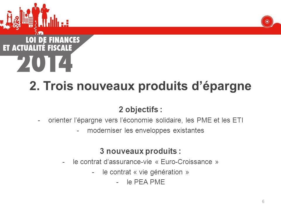 2. Trois nouveaux produits dépargne 2 objectifs : -orienter lépargne vers léconomie solidaire, les PME et les ETI -moderniser les enveloppes existante