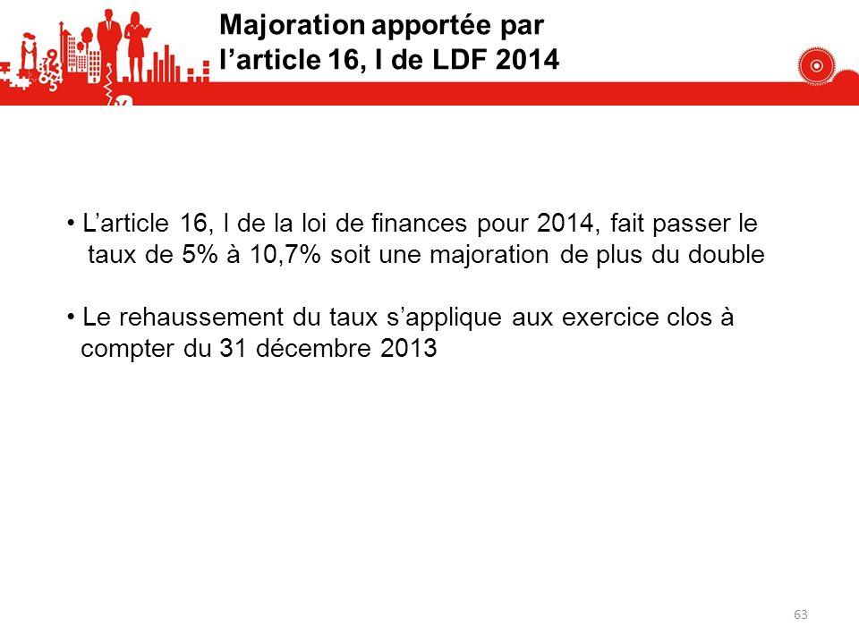 Majoration apportée par larticle 16, I de LDF 2014 Larticle 16, I de la loi de finances pour 2014, fait passer le taux de 5% à 10,7% soit une majoration de plus du double Le rehaussement du taux sapplique aux exercice clos à compter du 31 décembre 2013 63