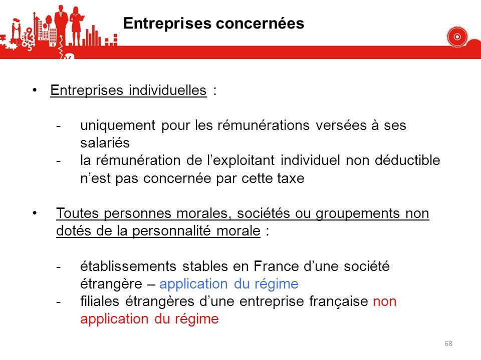 Entreprises concernées Entreprises individuelles : -uniquement pour les rémunérations versées à ses salariés -la rémunération de lexploitant individue