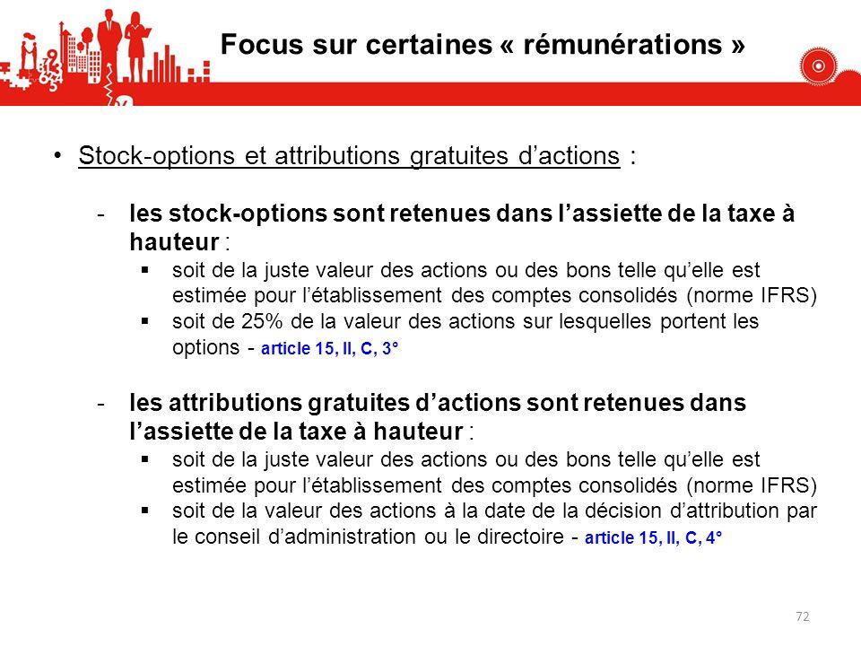 Stock-options et attributions gratuites dactions : -les stock-options sont retenues dans lassiette de la taxe à hauteur : soit de la juste valeur des