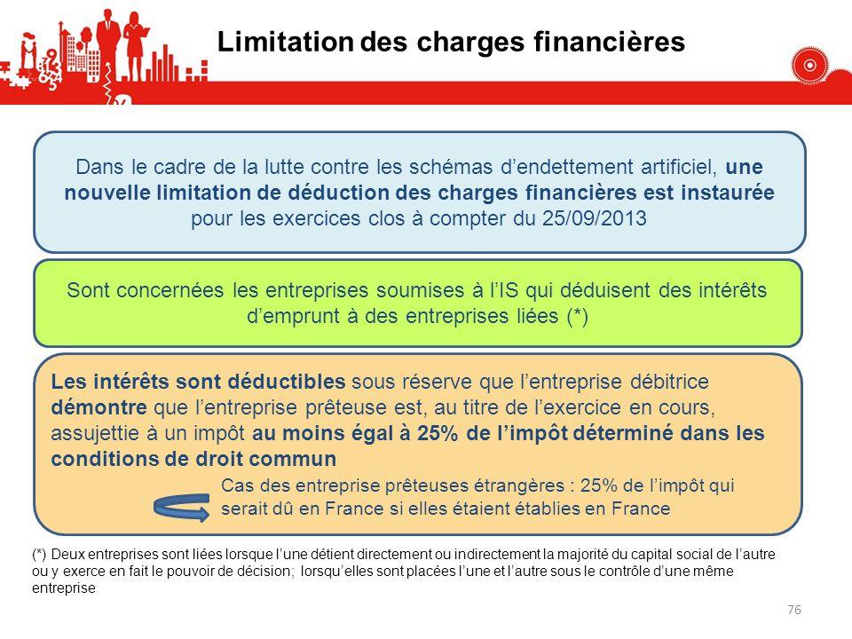 Limitation des charges financières Dans le cadre de la lutte contre les schémas dendettement artificiel, une nouvelle limitation de déduction des char