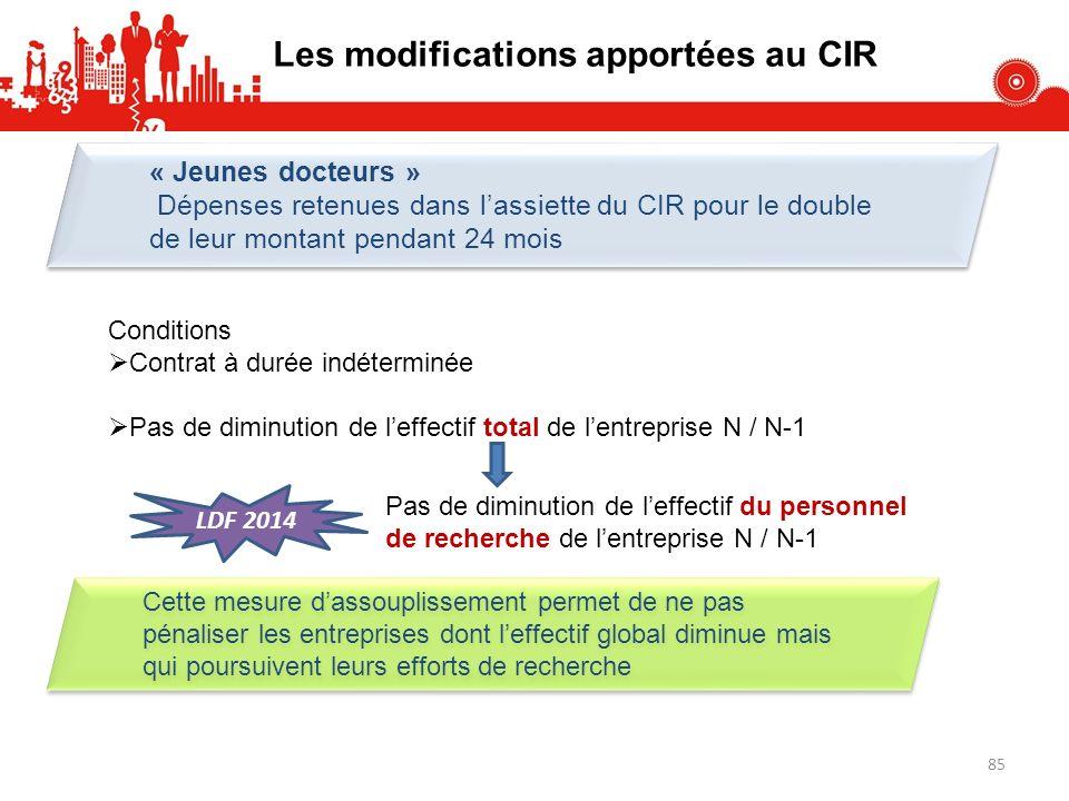 Les modifications apportées au CIR « Jeunes docteurs » Dépenses retenues dans lassiette du CIR pour le double de leur montant pendant 24 mois « Jeunes