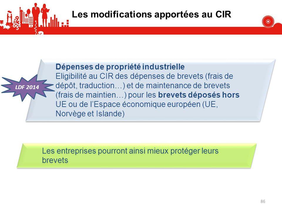 Dépenses de propriété industrielle Eligibilité au CIR des dépenses de brevets (frais de dépôt, traduction…) et de maintenance de brevets (frais de mai