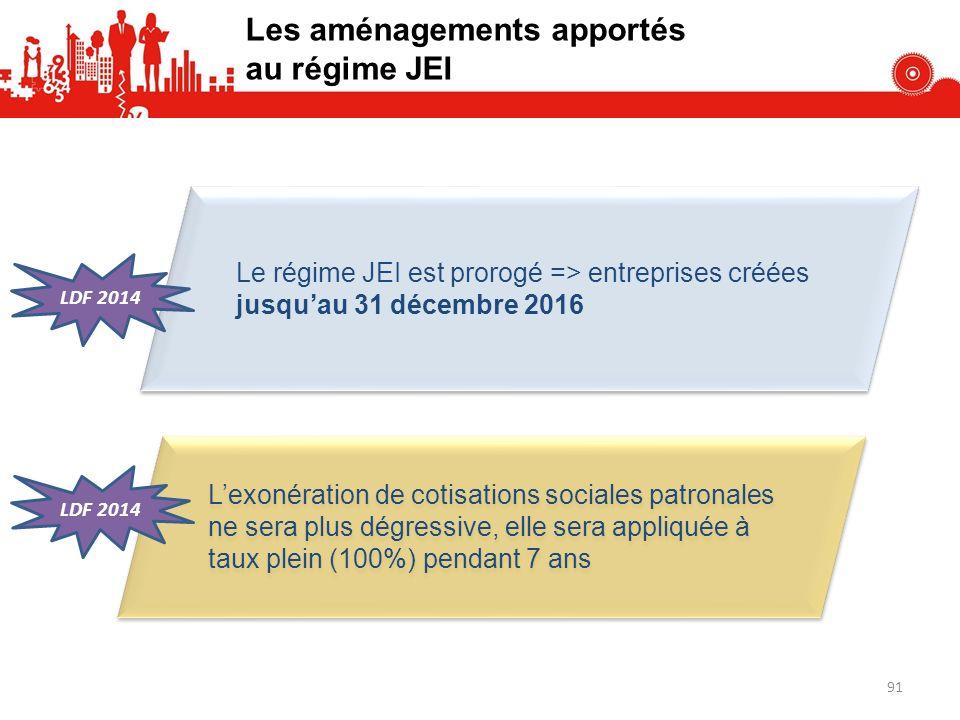 Les aménagements apportés au régime JEI Le régime JEI est prorogé => entreprises créées jusquau 31 décembre 2016 Lexonération de cotisations sociales patronales ne sera plus dégressive, elle sera appliquée à taux plein (100%) pendant 7 ans LDF 2014 91