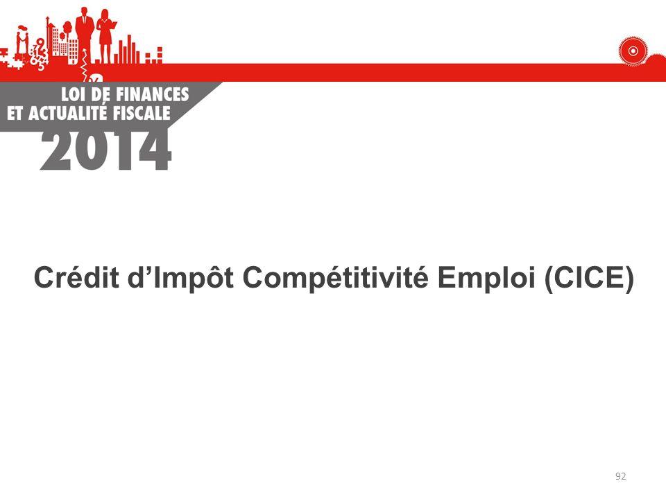 Crédit dImpôt Compétitivité Emploi (CICE) 92