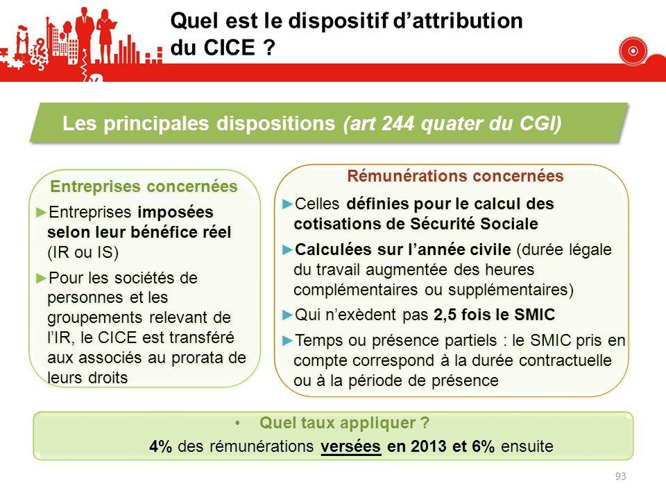 Quel est le dispositif dattribution du CICE ? Quel taux appliquer ? 4% des rémunérations versées en 2013 et 6% ensuite Les principales dispositions (a