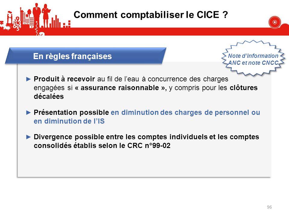 Comment comptabiliser le CICE ? En règles françaises Produit à recevoir au fil de leau à concurrence des charges engagées si « assurance raisonnable »