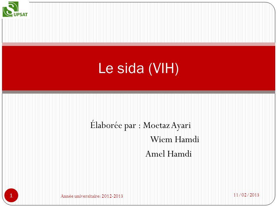 Élaborée par : Moetaz Ayari Wiem Hamdi Amel Hamdi Le sida (VIH) 11/02/2013 1 Année universitaire: 2012-2013