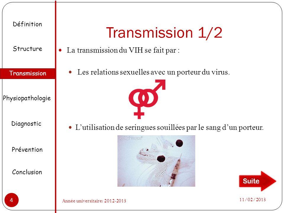 Transmission 1/2 La transmission du VIH se fait par : Les relations sexuelles avec un porteur du virus. Lutilisation de seringues souillées par le san